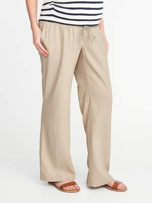 Old Navy Maternity Rollover-Waist Linen-Blend Pants