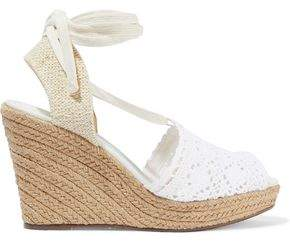 2e06f9b11 Schutz Lace-up Crocheted Wedge Espadrille Sandals