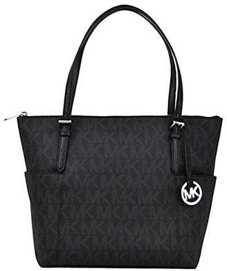 Michael Kors Jet Set Item East West Signature Top Zip PVC Tote with Silver Tone Hardware