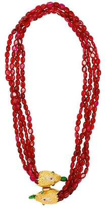 Kenneth Jay Lane Ruby Red Snake Clasp Necklace