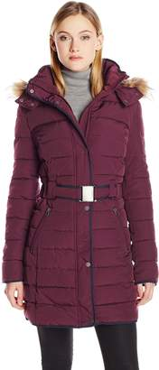 Tommy Hilfiger Women's Belted Down Coat with Fur Trimmed Hood