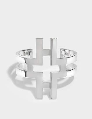 Tory Burch Hicks Large Cuff Bracelet in Tory Silver Brass