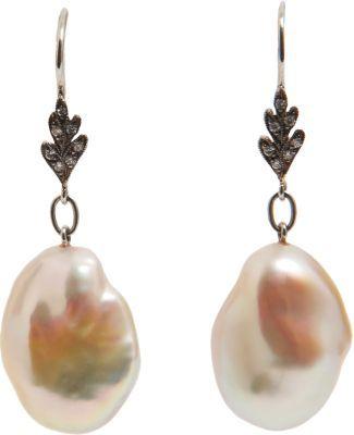 Cathy Waterman Diamond Leaf & Pink Freshwater Pearl Earrings