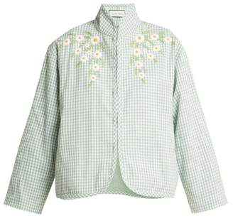 Innika Choo - Embroidered Cotton Jacket - Womens - Green White
