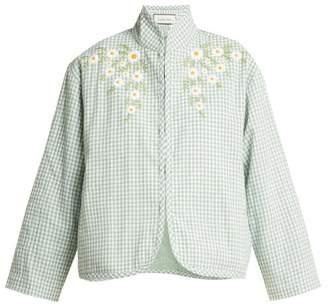 Innika Choo Embroidered Cotton Jacket - Womens - Green White