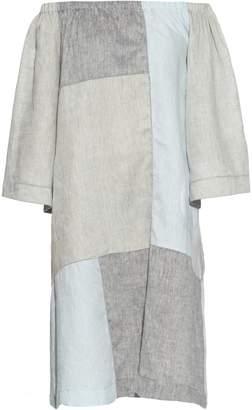 LISA MARIE FERNANDEZ Off-the-shoulder patchwork linen dress $770 thestylecure.com