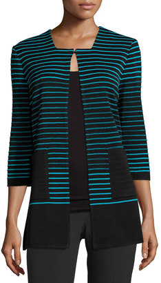 Ming Wang Textured-Stripe 3/4-Sleeve Jacket, Black/Peacock $199 thestylecure.com