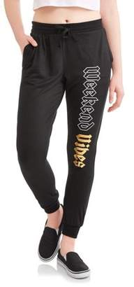 Lemondrop Juniors' Sassy Graphic Weekend VibesFleece Jogger Sweatpants