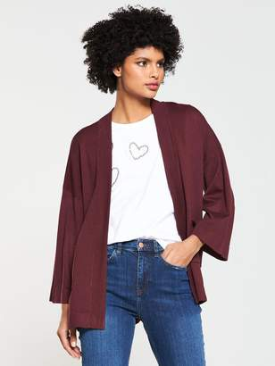 Very Kimono Sleeve Edge To Edge Cardigan - Merlot