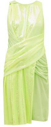 Sies Marjan Quincey Ruched Sequinned Dress - Womens - Yellow