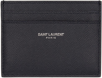 Saint Laurent Navy Leather Card Holder $225 thestylecure.com