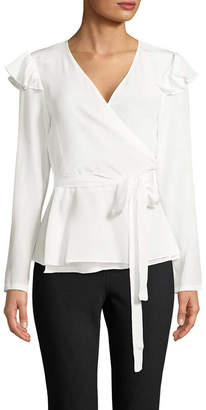 Nicole Miller Enzyme Washed Silk Wrap Top