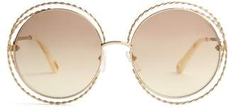 Chloé Carlina Round Frame Sunglasses - Womens - Gold
