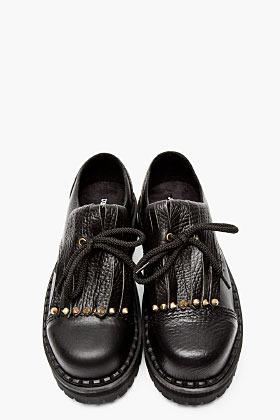 Underground Black Mixed Leather Fringe Shoes