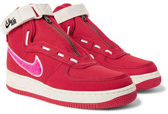 Nike Emotionally Unavailable Air Force 1 Zipped Canvas High-Top Sneakers - Men - Red