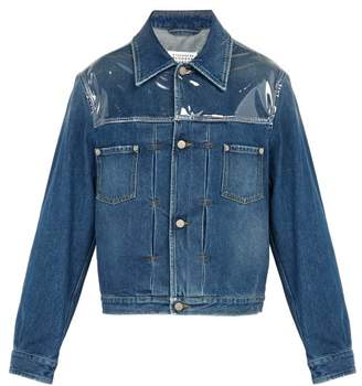 Maison Margiela Pvc Panelled Denim Jacket - Mens - Light Indigo