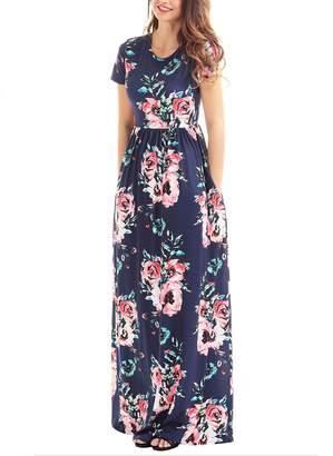 Greenis Summer Women Dress Maxi Floral Printed Cotton Short Sleeves Navy