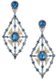 Konstantino Thalassa London Blue Topaz, 18K Yellow Gold& Sterling Silver Chandelier Earrings