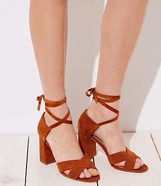 LOFT Lace Up Block Heel Sandals