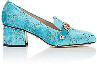 Gucci Women's Sylvie Embossed Velvet Pumps - Turquoise