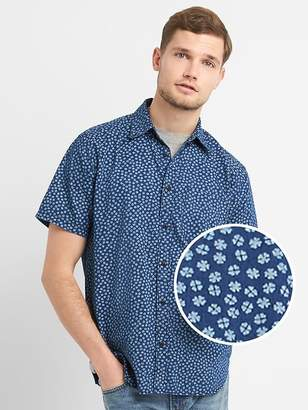 Gap Standard Fit Print Short Sleeve Shirt in Denim
