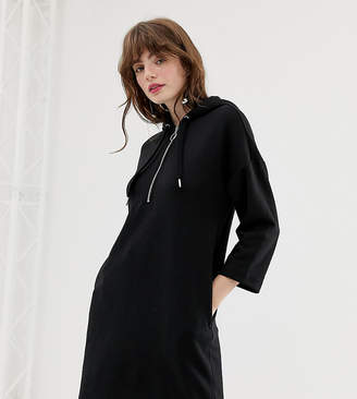 Monki hooded sweatshirt dress in black