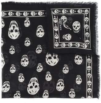 Alexander McQueen fringed skull print scarf