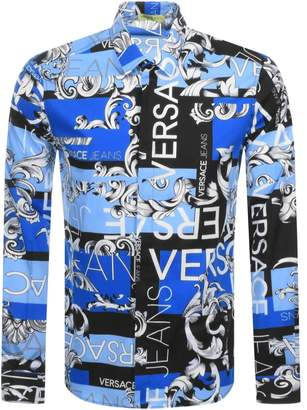 Versace Long Sleeved Logo Print Shirt Blue
