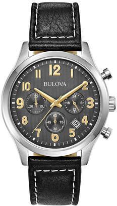 Bulova Men's Chronograph Black Leather Strap Watch 41mm