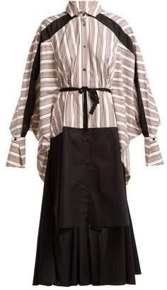 Palmer Harding Palmer//Harding Palmer//harding - Contrast Stripe Stepped Hem Cotton Shirt Dress - Womens - Red Multi
