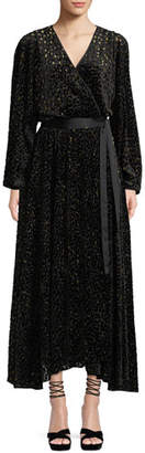 Diane von Furstenberg Metallic Animal-Print Velvet Devore Wrap Dress
