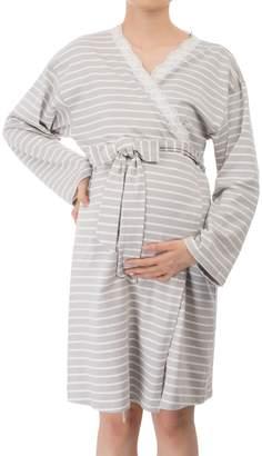 GRACE KARIN Women's V-Neck Knee Length Wrap Flower Printed Maternity Dress with Belt L