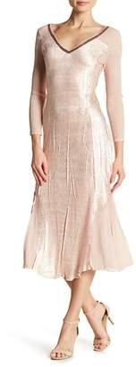 Komarov Sequins Trimmed V-Neck 3/4 Sleeve Dress