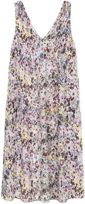 Ganni Pleated Georgette Sleeveless Dress in Egret