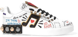 Dolce & Gabbana - Embellished Printed Leather Sneakers - White $1,195 thestylecure.com
