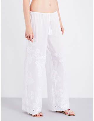 Seafolly Embroidered cotton and silk-blend trousers $126 thestylecure.com