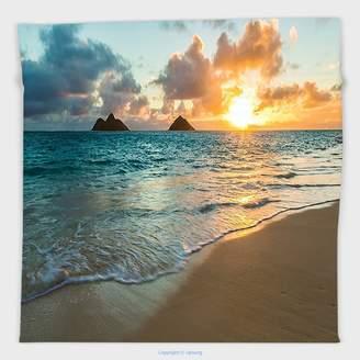 Sunbeam Vipsung Microfiber Ultra Soft Hand Towel-Hawaiian Decorations Collection Scenic Sunrise Over Ocean Rocks Sand Clouds Sunshine Tide Seashore Yellow Turquoise For Hotel Spa Beach Pool Bath