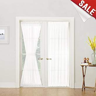 URBAN RESEARCH French Door Curtain Panel Linen Look French Door Panels 72 inch White Sheer Curtains for French