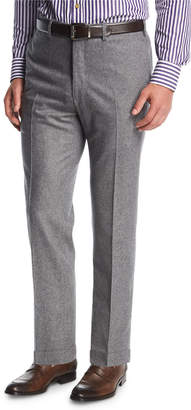 Kiton Wool-Cashmere Flat-Front Trousers Gray