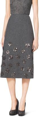 Michael Kors Embroidered Shetland Wool A-Line Skirt