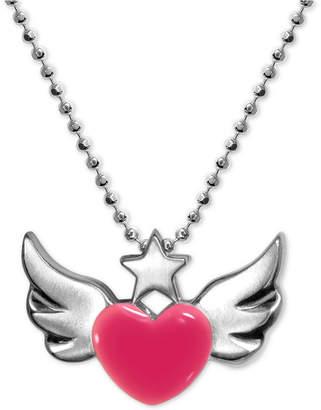 """Alex Woo Enamel Rainbow Winged Heart 16"""" Pendant Necklace in Sterling Silver"""