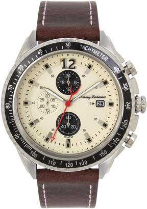 Tommy Bahama Men's Casual Stainless Steel Case and Brown Leather Strap with White Stitching Watch (Model:TB00030-02)