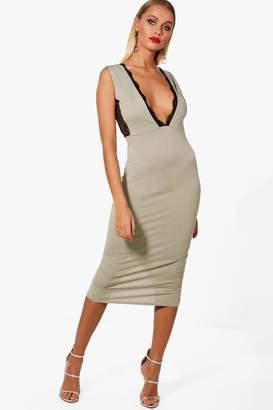 boohoo Lace Insert Midi Dress