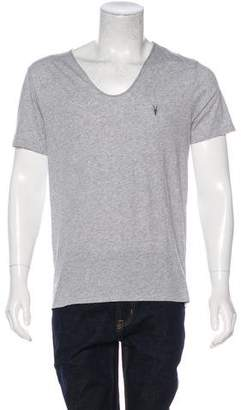 AllSaints Woven Distressed T-Shirt