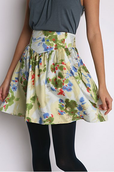 Ecote Watercolor Silk Skirt