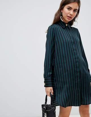 B.young stripe shirt dress
