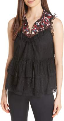 Kate Spade camelia embroidered top