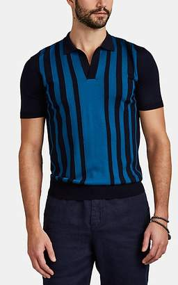 Orlebar Brown Men's Horton Striped Merino Wool Polo Shirt - Navy