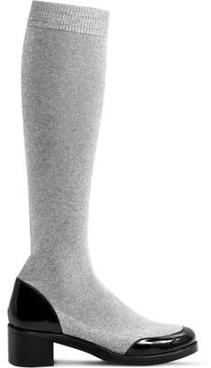 MR by Man Repeller - Leather-trimmed Metallic Cotton-blend Knee Boots - Silver