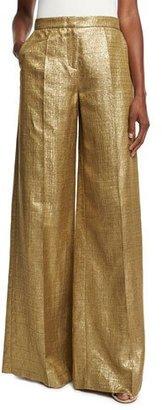 Etro Metallic High-Rise Wide-Leg Pants, Gold $835 thestylecure.com